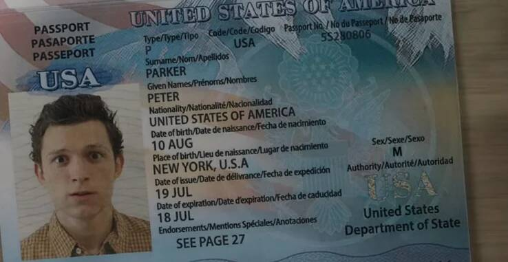 Peter Parker's passport in the Far From Home trailer